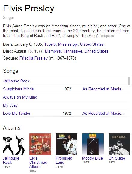 Elvis Presley search on Google